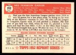 1952 Topps REPRINT #212  Ned Garver  Back Thumbnail