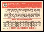 1952 Topps REPRINT #208  Marlin Stuart  Back Thumbnail