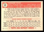 1952 Topps REPRINT #109  Ted Wilks  Back Thumbnail