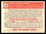 1952 Topps Reprints #233  Bob Friend  Back Thumbnail