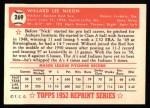 1952 Topps Reprints #269  Willard Nixon  Back Thumbnail