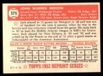 1952 Topps REPRINT #375  John Merson  Back Thumbnail