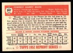 1952 Topps REPRINT #397  Forrest Main  Back Thumbnail