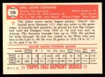 1952 Topps REPRINT #110  Dutch Leonard  Back Thumbnail