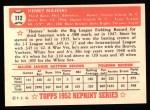 1952 Topps REPRINT #112  Hank Majeski  Back Thumbnail