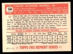 1952 Topps Reprints #288  Chet Nichols  Back Thumbnail