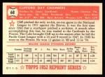 1952 Topps Reprints #68  Cliff Chambers  Back Thumbnail
