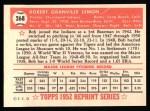 1952 Topps Reprints #268  Bob Lemon  Back Thumbnail