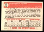 1952 Topps REPRINT #106  Mickey Vernon  Back Thumbnail