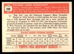 1952 Topps REPRINT #108  Jim Konstanty  Back Thumbnail