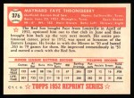 1952 Topps REPRINT #376  Faye Throneberry  Back Thumbnail