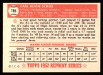 1952 Topps REPRINT #116  Carl Scheib  Back Thumbnail