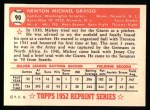 1952 Topps REPRINT #90  Mickey Grasso  Back Thumbnail