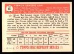 1952 Topps Reprints #81  Vern Law  Back Thumbnail
