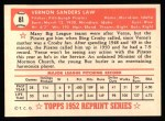 1952 Topps REPRINT #81  Vern Law  Back Thumbnail