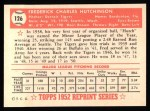 1952 Topps REPRINT #126  Fred Hutchinson  Back Thumbnail