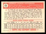 1952 Topps Reprints #126  Fred Hutchinson  Back Thumbnail