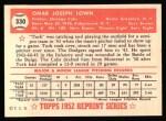 1952 Topps REPRINT #330  Turk Lown  Back Thumbnail