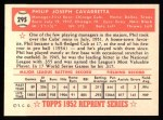 1952 Topps REPRINT #295  Phil Cavarretta  Back Thumbnail