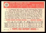 1952 Topps REPRINT #202  Joe Collins  Back Thumbnail