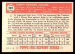 1952 Topps REPRINT #202  Joe Collins  Back Thumbnail