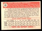 1952 Topps REPRINT #301  Bob Porterfield  Back Thumbnail