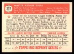 1952 Topps REPRINT #222  Hoot Evers  Back Thumbnail