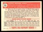 1952 Topps REPRINT #336  Dave Koslo  Back Thumbnail