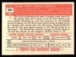 1952 Topps REPRINT #384  Frank Crosetti  Back Thumbnail