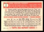 1952 Topps REPRINT #2  Pete Runnels  Back Thumbnail
