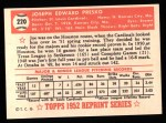 1952 Topps REPRINT #220  Joe Presko  Back Thumbnail