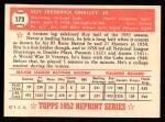 1952 Topps REPRINT #173  Roy Smalley  Back Thumbnail