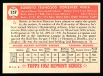 1952 Topps Reprints #257  Bobby Avila  Back Thumbnail