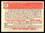1952 Topps REPRINT #365  Cookie Lavagetto  Back Thumbnail