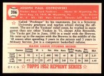 1952 Topps Reprints #206  Joe Ostrowski  Back Thumbnail