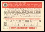 1952 Topps REPRINT #305  Paul Richards  Back Thumbnail