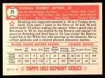 1952 Topps REPRINT #71  Tom Upton  Back Thumbnail