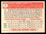 1952 Topps REPRINT #71  Tom Upton  Back Thumbnail