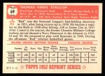 1952 Topps Reprints #69  Virgil Stallcup  Back Thumbnail
