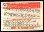 1952 Topps REPRINT #285  Cliff Fannin  Back Thumbnail
