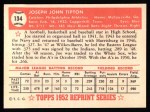 1952 Topps REPRINT #134  Joe Tipton  Back Thumbnail
