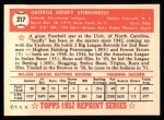 1952 Topps REPRINT #217  Snuffy Stirnweiss  Back Thumbnail