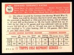 1952 Topps Reprints #165  Eddie Kazak  Back Thumbnail