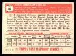 1952 Topps REPRINT #117  Sherm Lollar  Back Thumbnail