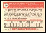 1952 Topps Reprints #236  Ed Fitzgerald  Back Thumbnail