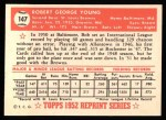 1952 Topps REPRINT #147  Bob Young  Back Thumbnail