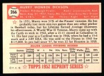 1952 Topps REPRINT #266  Murry Dickson  Back Thumbnail