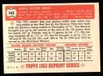 1952 Topps REPRINT #143  Les Moss  Back Thumbnail