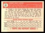 1952 Topps REPRINT #101  Max Lanier  Back Thumbnail
