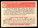 1952 Topps REPRINT #403  Bill Miller  Back Thumbnail